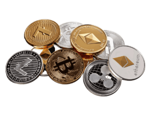 Pile of crypto coins